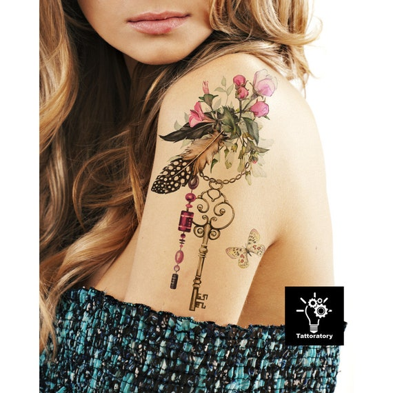 Large Floral Tattoo Sleeve Flower Temporary Tattoo Watercolor Etsy