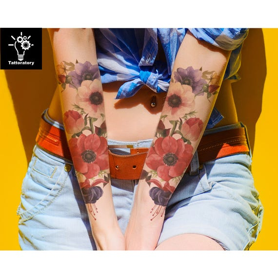 2 Floral Temporary Tattoo Sleeve For Women Tatouage Temporaire Etsy
