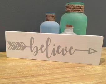 Love, Dream, Believe Tribal Arrow Wood Sign