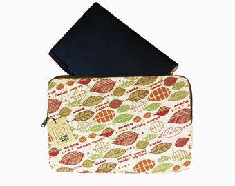 Laptop Sleeve, Macbook Leaves Case, Vegan Laptop Case, Zipper Laptop Case, Laptop Bag, Macbook Cover, Laptop Cover, Zipper Laptop Cover