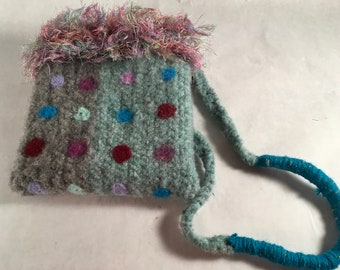 teal felted bag