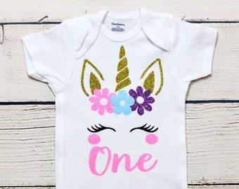 4770a3345 Unicorn one onesie | Unicorn face onesie, blushing unicorn, baby girl  onesie, birthday girl, glitter unicorn, toddler shirt, kids shirt