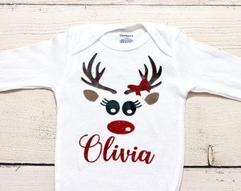 7205e0d86 Reindeer onesie | Personalized name onesie, Christmas onesie, baby girl,  toddler shirt, kids shirt, shirt, first Christmas, reindeer
