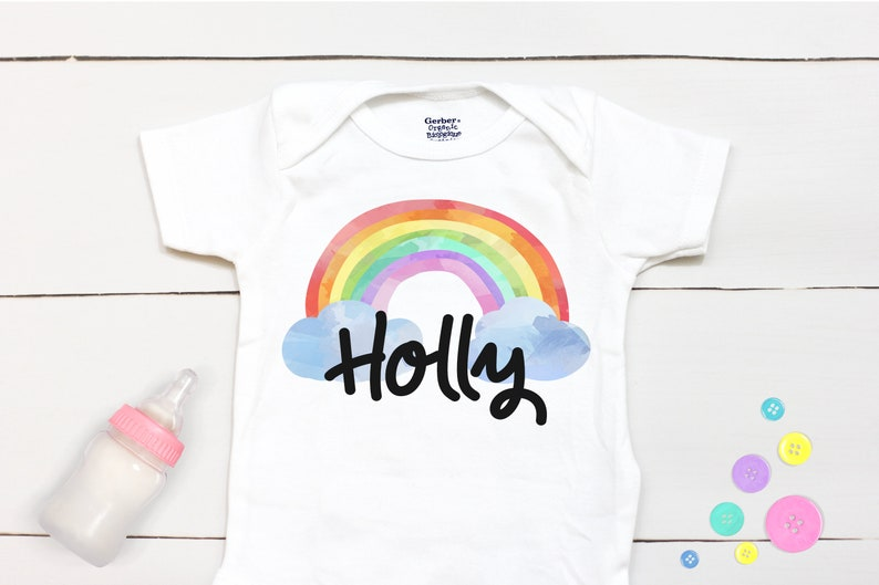 Rainbow Baby Onesie\u00ae  Personalized Name  Take Home Outfit  Coming Home Outfit  Rainbow Bodysuit  Baby Shower Gift  Custom Name
