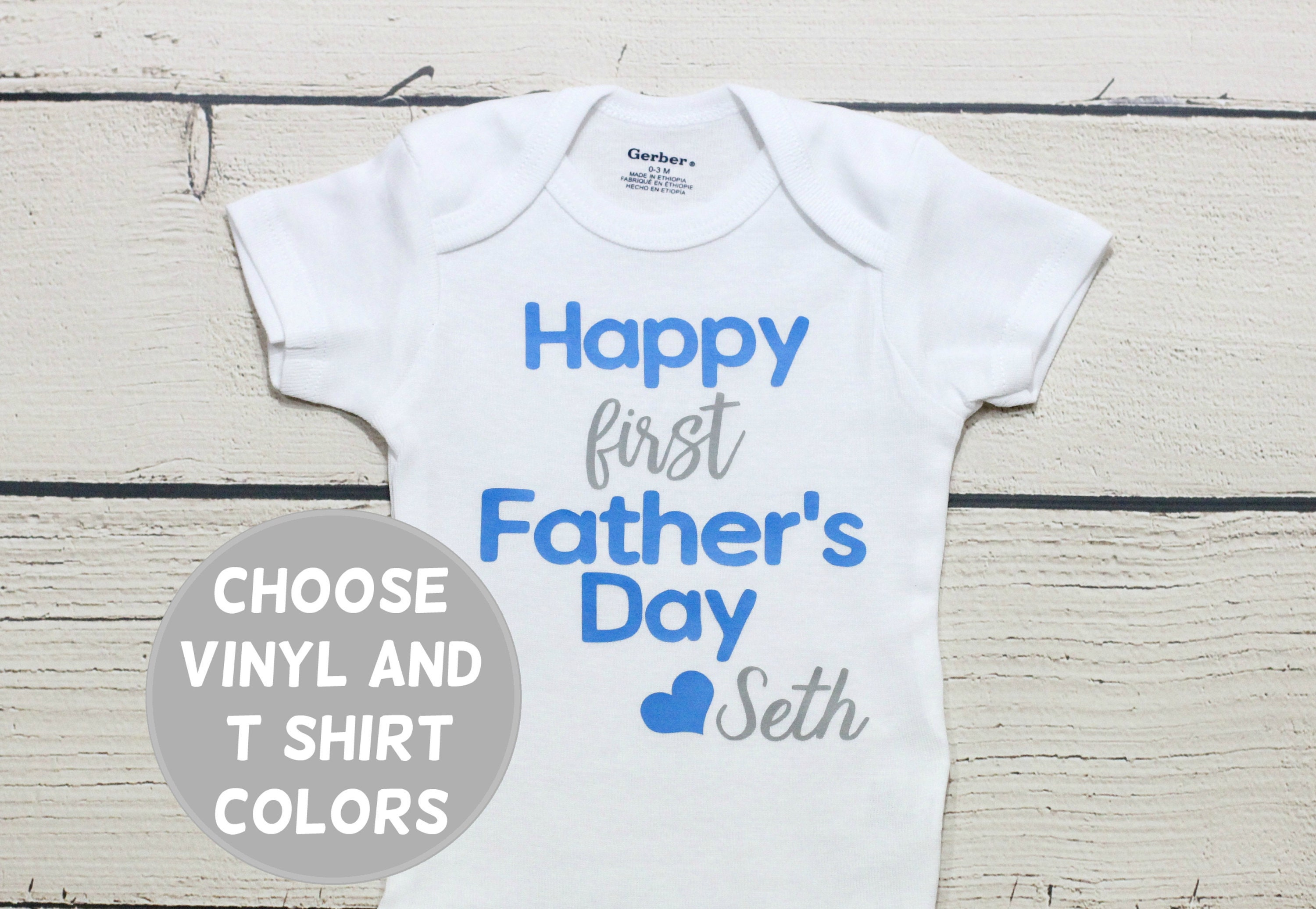 Happy 1st Father/'s Day Embroidered Baby T-Shirt Gift Personalised Fathers Dad