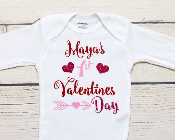 My First Valentines Day Onesie Personalized Name Onesie Etsy