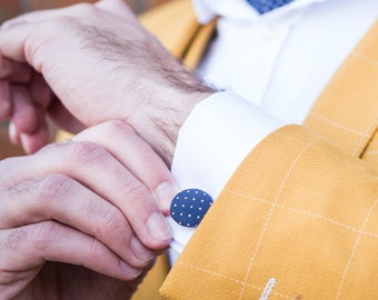 Grooms Attire Gift for best man Vintage Wedding Cufflinks Wedding Cufflinks Cashmere Handmade Cufflinks Navy Blue Cashmere Cufflinks