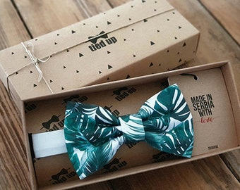 eea5bb36b98f Tropical pattern Bow Tie, Floral pattern Bow Tie, Green leaves bow tie for  kids, Arizona Bow Tie, Summer Bow tie, Bow Tie for dad and son