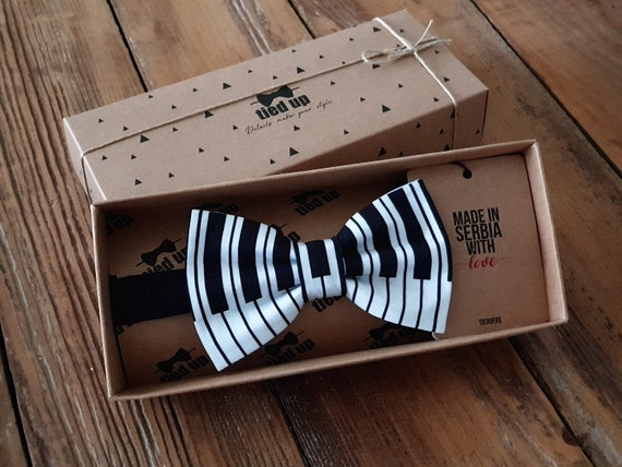 Pre-tied Bow Tie in Gift Box Piano Keys