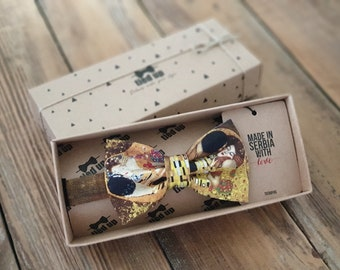 Gustav Klimt The Kiss Bow Tie, Gustav Klimt The Kisst tie, bow tie and pocket square styles, kids or adult sizes for bow tie