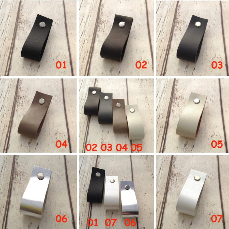 Leather drawer pulls Leather door pulls Cabinet pulls Drawer handles Dresser pulls Leather handles Leather pulls White Pull Ikea Hack