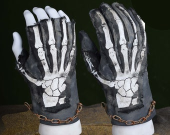 Post Apocalyptic Skeleton Leather Gloves (Punk, Gothic, Wasteland, Mad Max, Black Metal)