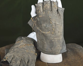 Post Apocalyptic Leather Thief Gloves (Punk, Gothic, Wasteland, Mad Max, Medieval)