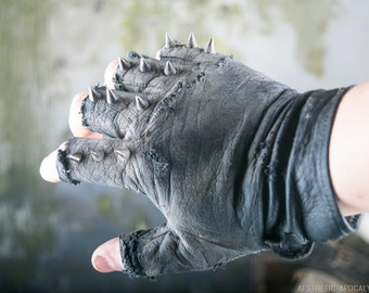 Post Apocalyptic Spike Leather Gloves (Punk, Gothic, Wasteland, Mad Max, Black Metal)
