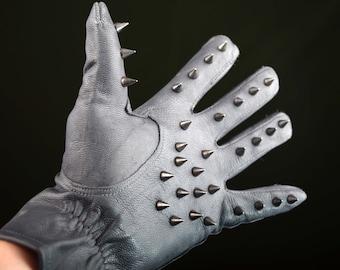 """Spiked Leather Spanking Vampire Gloves """"Painfreak"""""""