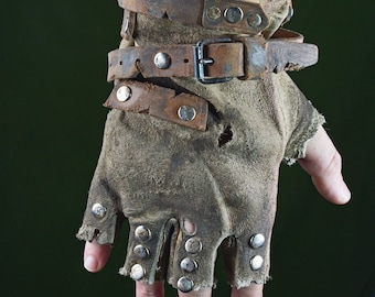 Post-Apocalyptic Leather Worker Gloves (Wasteland, Mad Max)