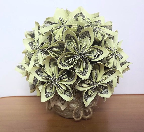 Instructions for Origami Money Flowers | 522x570