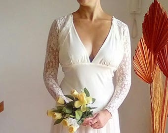 Bridal bolero with sleeves,stretch,shrug nupcial,lace