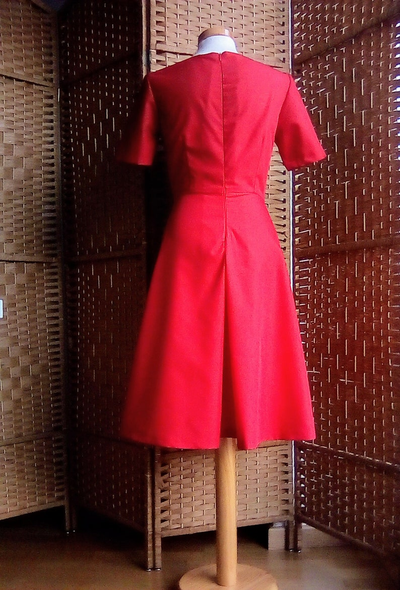Red dress,cotton dress,1950s dress,made to measure