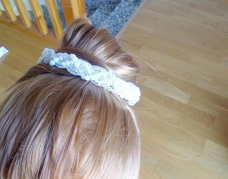 Satin and pearl headband