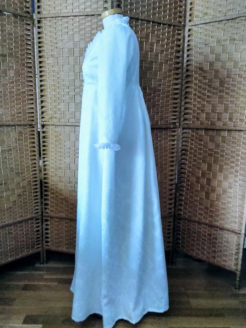 sat brocade coat,White coat Regency coat,18th century gown,made to order