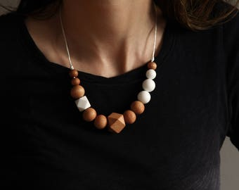 "Necklace ""Beachwood"" Silicone wood Jewelry"