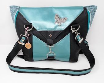 Handtasche zum Vergrößern, Edina aus Kunstleder schwarz/grün-metallic, feste stabile Tasche mit Henkeln