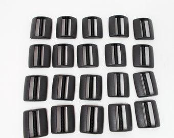 Versteller für 25mm Gurtband schwarz, 20 Stück