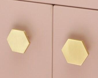 Solid Brass Hexagon Cabinet Knob   Kitchen Cabinet Knob   Brass Drawer Knob   Replacement Door Knob   Hexagon Furniture Knob   Gold