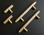 Knurled T Bar Solid Brass Cabinet Handles Brass Door Handles Drawer Handles Replacement Door Handles Gold Drawer Pulls Textured