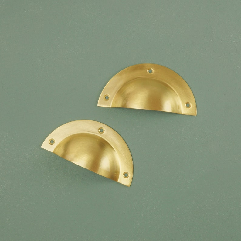 Lusso Solid Brass Cup cassetto pull / Ottone Porta Pull / FEpSH51O