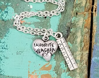 Favorite Teacher Necklace, Teacher Necklace, Personalized Necklace, School Jewelry, Teacher Gift, Librarian Gift, Back to School