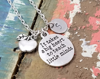 Teacher Jewelry, Teacher Necklace, Personalized Necklace, School Jewelry, Teacher Gift, Librarian Gift, Back to School, Gift for Teacher