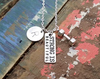 Strong is Beautiful Necklace, Strength Necklace, Dumbbell Charm Jewelry, Weight Loss Gift, Inspirational Necklace,