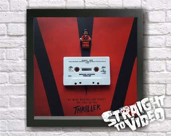 Michael Jackson / Thriller Cassette Tape & King of Pop Lego Mini Figure Frame