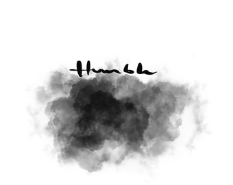 Humble Digital Print in Black and White with Clouds, Black and White Cloud Print