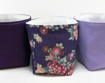 Baby shower gift floral storage basket set of 3 home decor wedding decor mothers day gift for mom kitchen organization fabric basket lilac