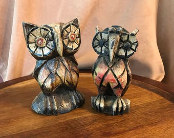 Small Carved and Painted Owls