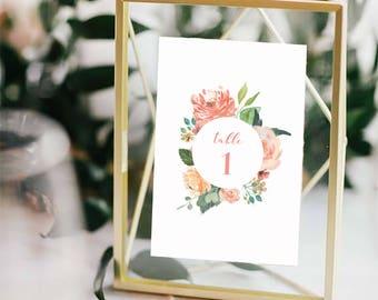 Printable Wedding Floral Table Numbers 1 - 40 | Instant Download | PDF Table Numbers | Floral Table Numbers