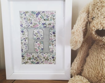 Framed embroidery initial art for nursery, machine embroidery, perfect gift for new baby, christening