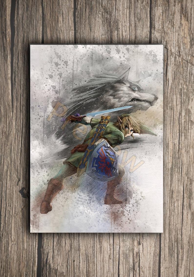 Legend of Zelda Print Poster Watercolor Wall Art Game Poster Link Zelda Gift L44