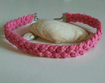 Braided choker suede-light pink