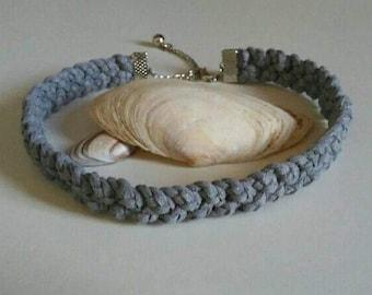 Braided choker suede-grey