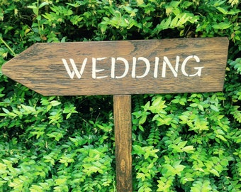 Wedding Directional Sign, Rustic Wedding Signpost, Wooden Wedding Sign, Ceremony Reception Parking Sign, Reclaimed Wooden Arrow Sign
