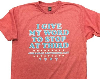 6352eca5 Arkansas Abstinence Day Red Cotton Poly Blend Tee