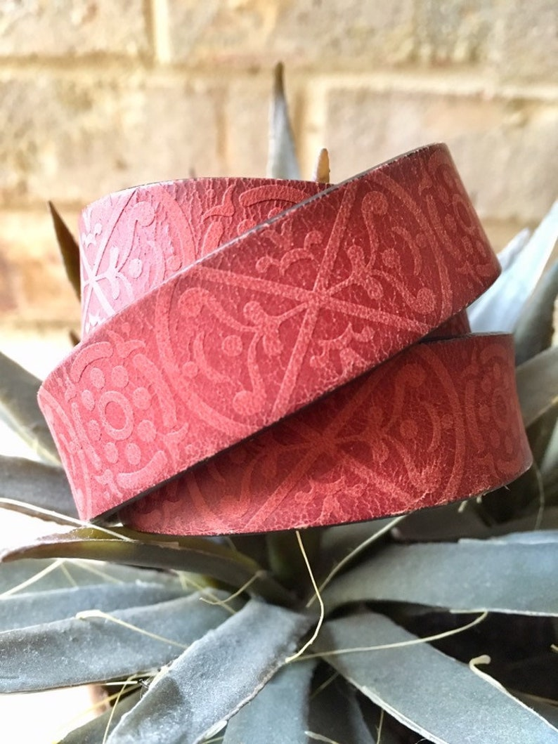 Handmade Gifts for Her Red Leather Wrap Cuff