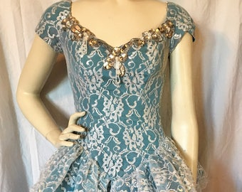 Vintage 80's 90's LORALIE Dress Dance Costume TUTU Fairy Princess Ballerina Teal Blue White & Silver Lace, Layers of Tulle S-XS 4