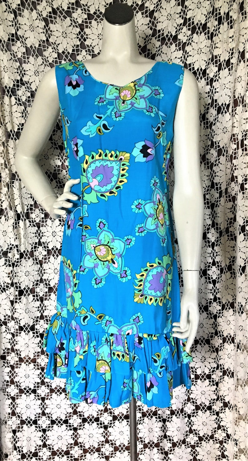708c24689beb0 Vintage 60's Tropical Hawaiian DRESS Pool Party Luau Ruffled Hem Turquoise  Paisley Floral Print size 4 or small FREE SHIPPING!