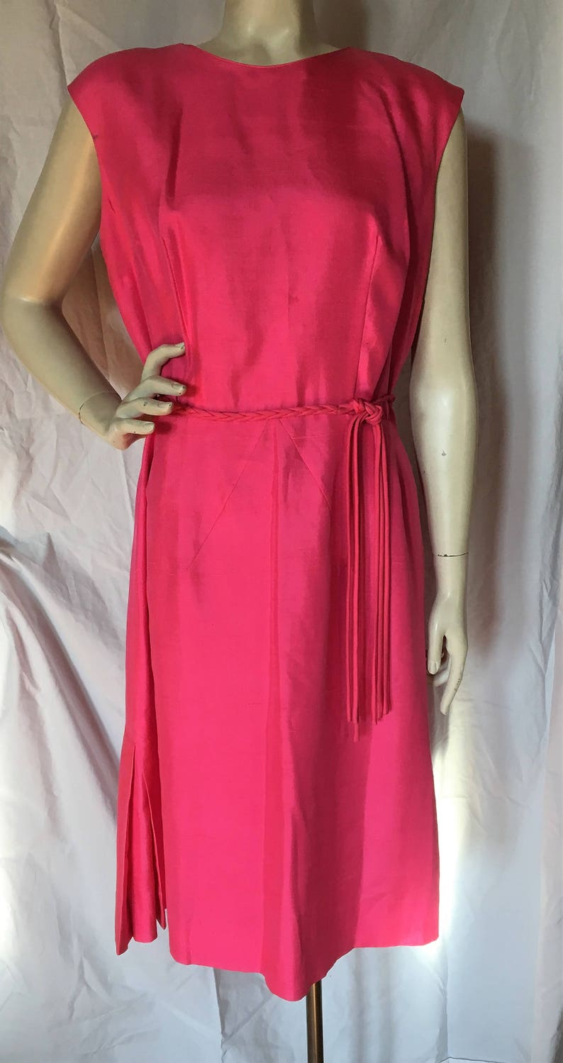 a132f3b886682 Vintage 1960's Wilshire of Boston HOT PINK Silk Cocktail Dress LARGE 12 Mad  Men Free Shipping!
