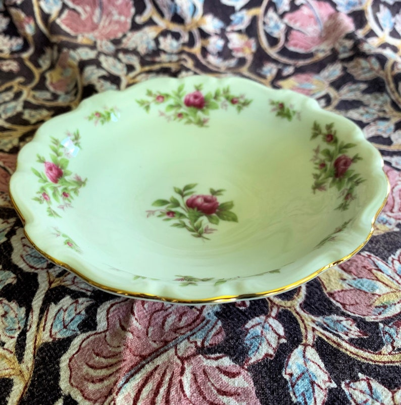 Vintage Johann Haviland Bavaria Germany  Moss Rose  pattern 5 Individual Fruit Bowls 12 available Fine Bavarian China gold trim